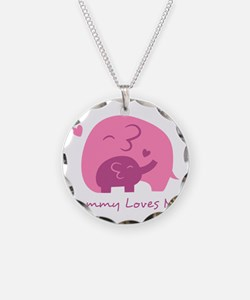 Mommy Loves Me, Cute Elephant and Baby Necklace