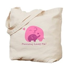Mommy Loves Me, Cute Elephant and Baby Tote Bag