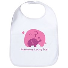Mommy Loves Me, Cute Elephant and Baby Bib