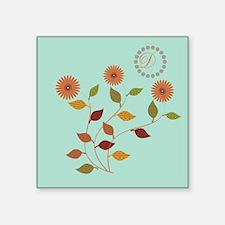 "Fall Autumn Floral Square Sticker 3"" x 3"""