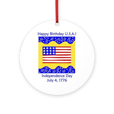 Happy Birthday USA Ornament (Round)