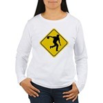 Bowling Crossing Sign Women's Long Sleeve T-Shirt