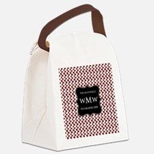 Red and White Leaves Black Monogr Canvas Lunch Bag