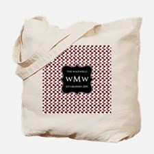 Red and White Leaves Black Monogram Tote Bag