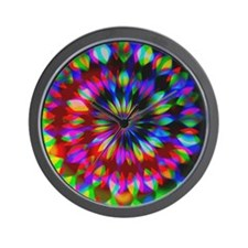 Rainbow Hippie Swirl Wall Clock