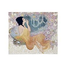 Art Deco Vanity Lady Throw Blanket