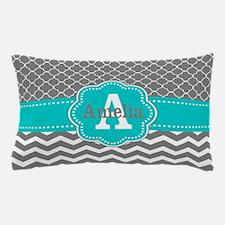 Gray Teal Quatrefoil Chevron Personalized Pillow C