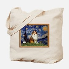 Starry Night & Sable Sheltie Tote Bag