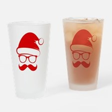 Hipster Christmas Drinking Glass