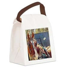 Chilly Morning Buggy Horse Canvas Lunch Bag