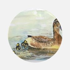 Duck and Ducklings Ornament (Round)