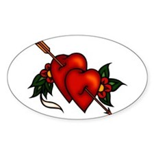 Hearts with Arrow Tattoo Art Oval Decal