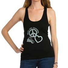 PEACE-LOVE-BADMINTON Racerback Tank Top