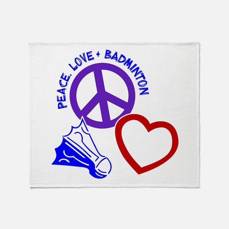 PEACE-LOVE-BADMINTON Throw Blanket