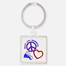 PEACE-LOVE-BADMINTON Square Keychain