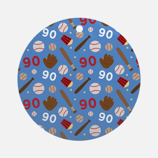 Baseball Number 90 Ornament (Round)