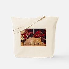 Sleepy Christmas Corgi Tote Bag
