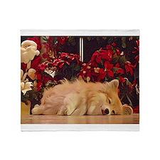 Sleepy Christmas Corgi Throw Blanket