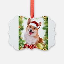 Smiling Corgi with Santa Hat Ornament