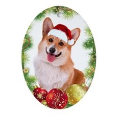 Smiling Corgi with Santa Hat Ornament (Oval)