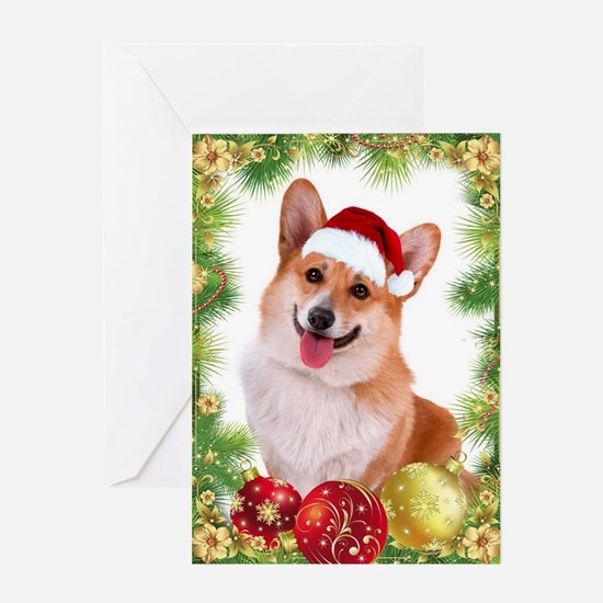 Smiling Corgi With Santa Hat Greeting Cards