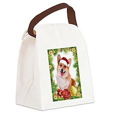 Smiling Corgi with Santa Hat Canvas Lunch Bag