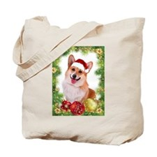 Smiling Corgi with Santa Hat Tote Bag
