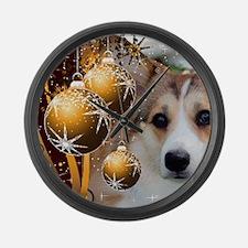 Sable Holiday Corgi Large Wall Clock