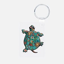 Red Teal Paisley Keychains