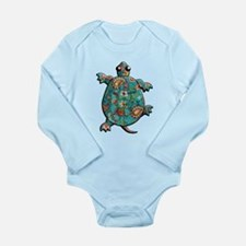 Red Teal Paisley Long Sleeve Infant Bodysuit