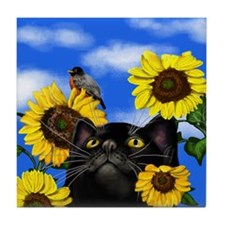 BLACK CAT SUNFLOWERS BIRD Tile Coaster