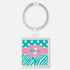 Pink Teal Zebra Dots Personalized Keychains