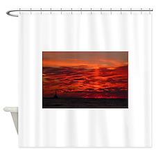 Fire Sunset Lk Superior Shower Curtain