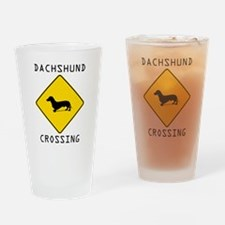 Dachshund Crossing Drinking Glass