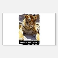 HAPPY BIRTHDAY TIGER LOOK Rectangle Decal