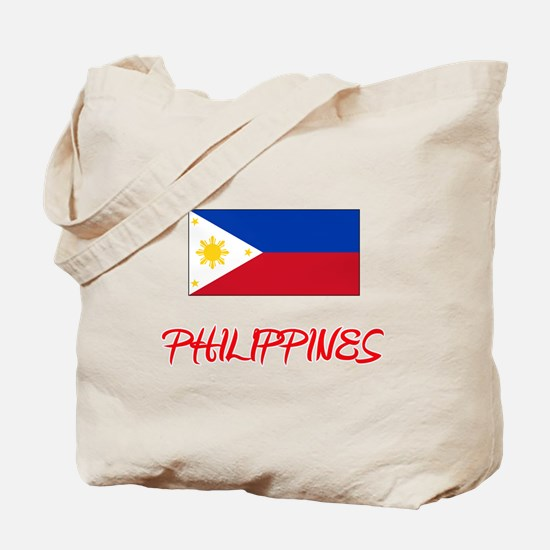 Philippines Flag Artistic Red Design Tote Bag