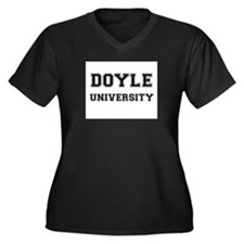 DOYLE UNIVERSITY Women's Plus Size V-Neck Dark T-S