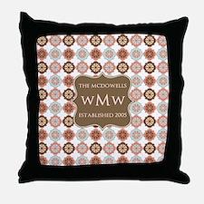 Quatrefoil Custom Monogram Keepsake Throw Pillow