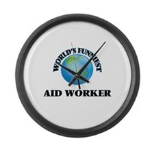 World's Funniest Aid Worker Large Wall Clock