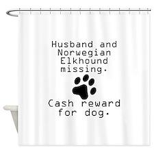 Husband And Norwegian Elkhound Missing Shower Curt