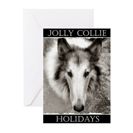 """Jolly Collie Holidays"" Greeting Cards (6)"