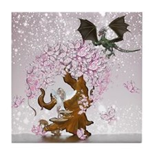 Fantasy Faerie Butterflies and Dragon Tile Coaster