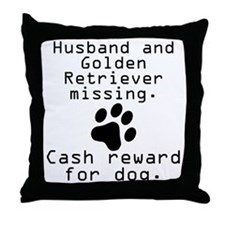 Husband And Golden Retriever Missing Throw Pillow