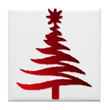 Stencil Christmas Tree Red Tile Coaster