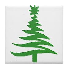 Stencil Christmas Tree Green Tile Coaster