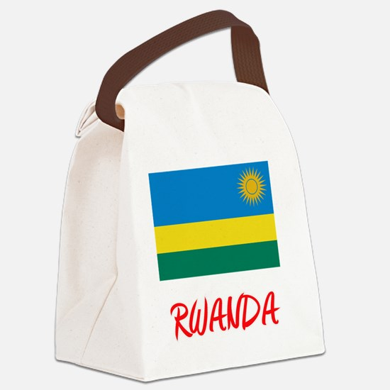 Rwanda Flag Artistic Red Design Canvas Lunch Bag