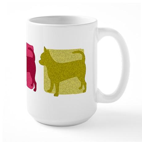 Color Row Chihuahua Large Mug