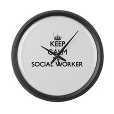 Keep calm I'm a Social Worker Large Wall Clock