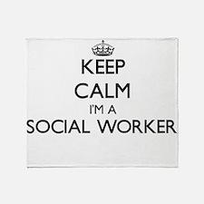 Keep calm I'm a Social Worker Throw Blanket