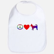 Peace, Love, Chihuahua Bib